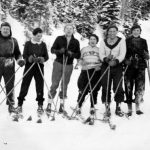 WP00205: Paddy McDonnell, Mary Adair, Bob Cockburn, Barbara McDonnell, Flora Boyd and another friend out for a ski.